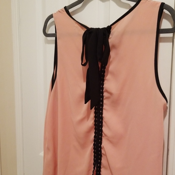 faith and joy Tops - Coral tank with bow tie